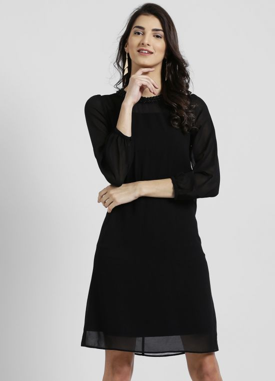 Round Neck Solid A-Line Dress for Women
