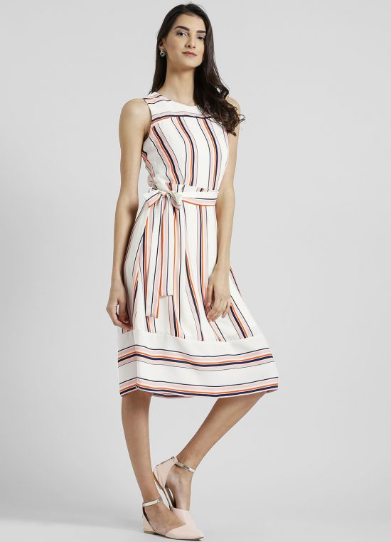 Round Neck Striped A-Line Dress for Women