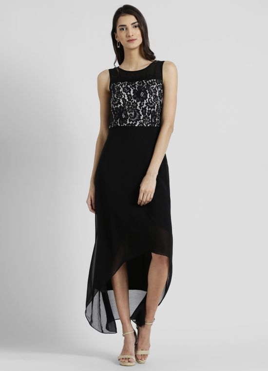 Round Neck Solid Maxi Dress for Women