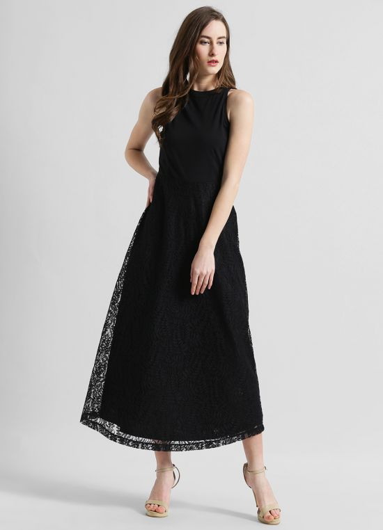 Halter Neck Solid Fit and Flare Dress for Women