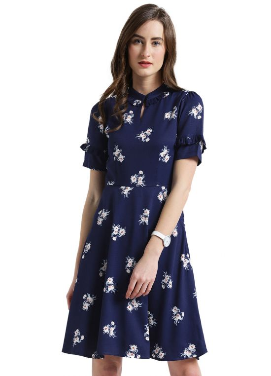 Key Hole Neckline Printed Fit and Flare Dress for Women