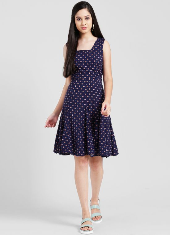 Navy Blue Printed Fit and Flare Dress for Women