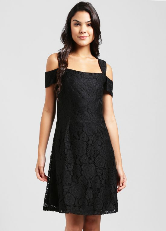 Black Self Design Fit and Flare Dress for Women