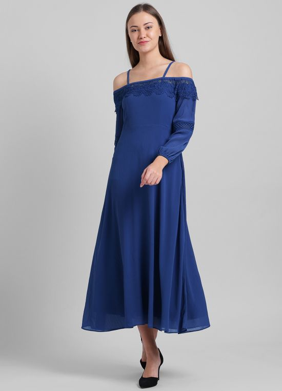 Blue Solid Maxi Dress for Women