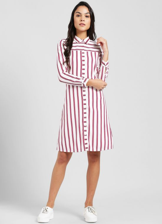 Off White Printed Shirt Dress for Women