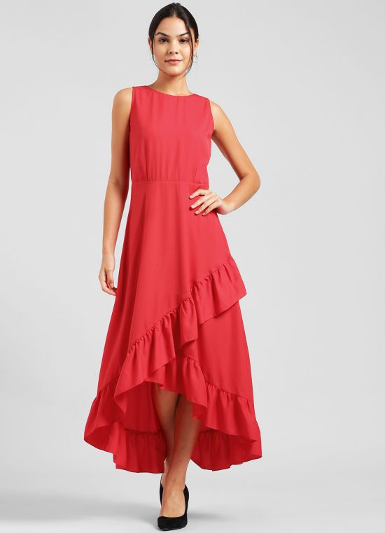 Red Solid Maxi Dress for Women