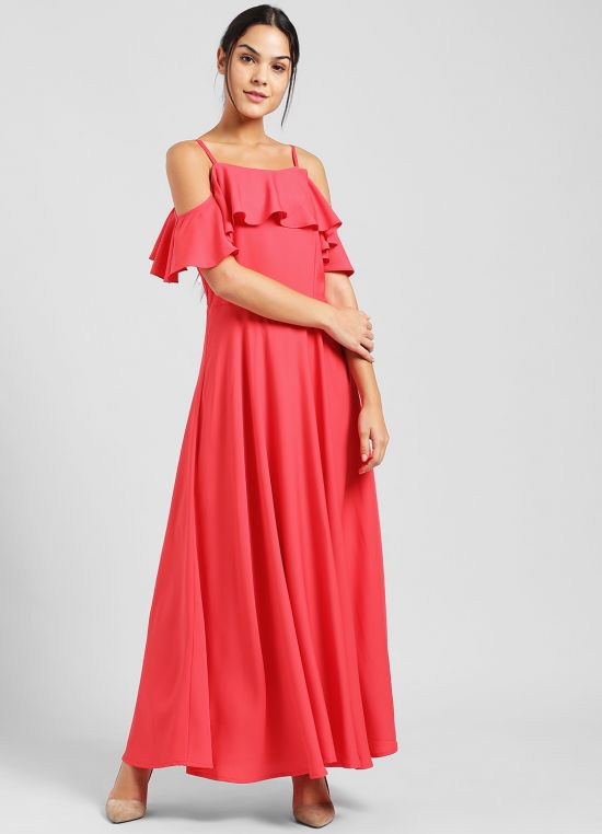 Coral Solid Maxi Dress for Women