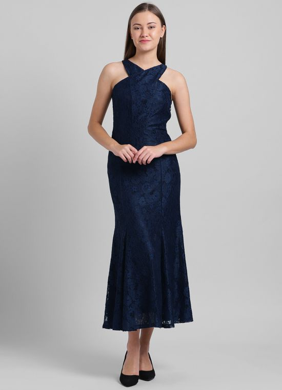 Navy Blue Solid Maxi Dress for Women