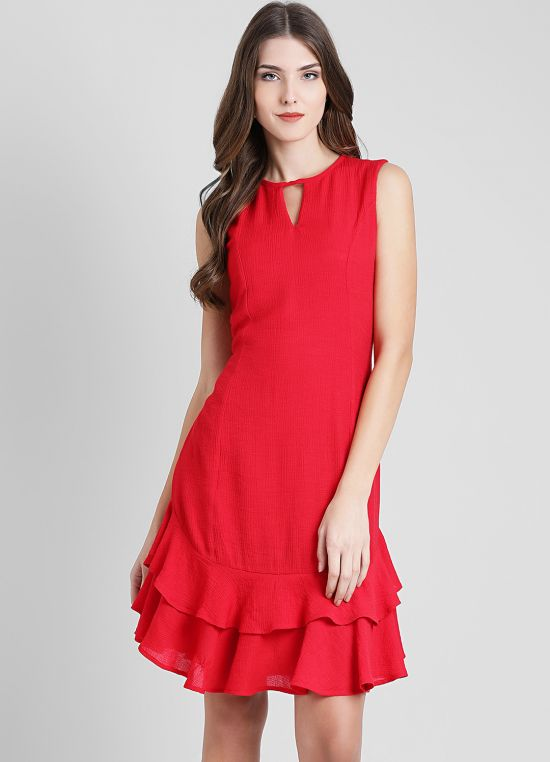 Red Solid A-Line Dress for Women