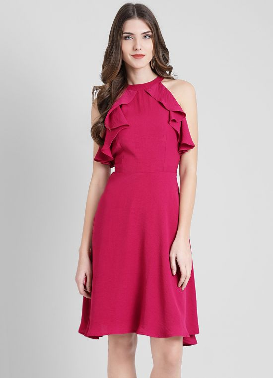 Magenta Solid Fit and Flare Dress for Women