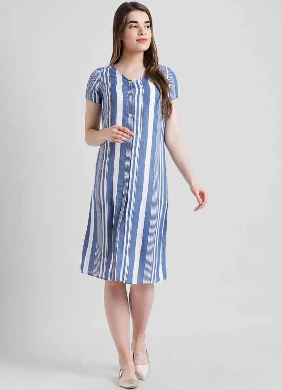 Blue Striped Fit and Flare Dress for Women
