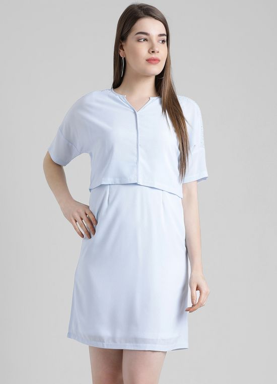 Blue Solid A-Line Dress for Women