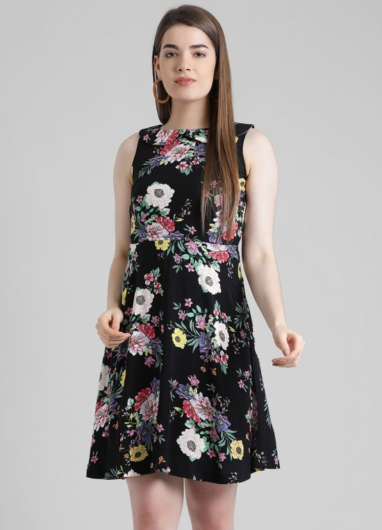 Black Printed Fit and Flare Dress for Women