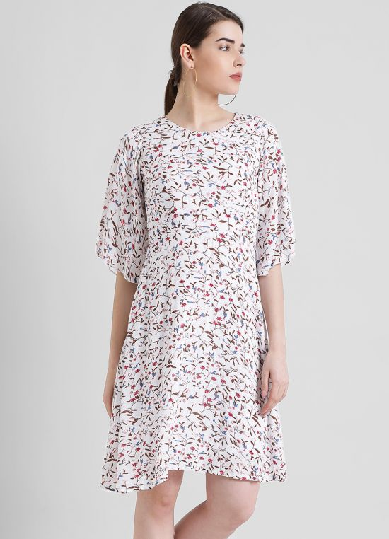 White Printed Fit and Flare Dress for Women