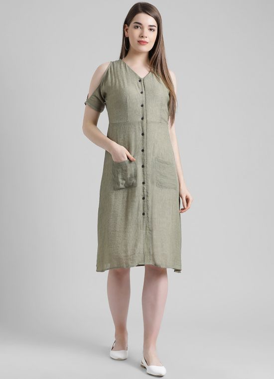 Olive Solid A-Line Dress for Women
