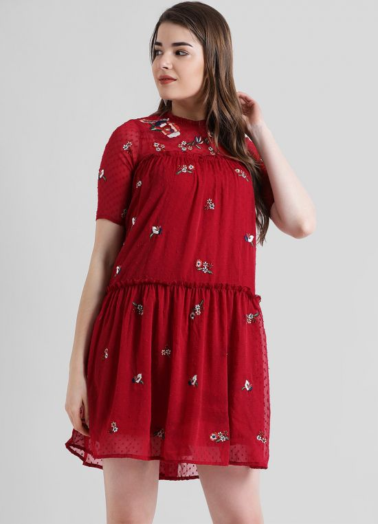 Maroon Self Design A-Line Dress for Women