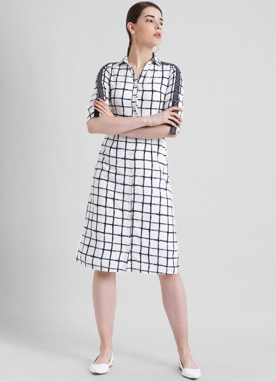 White Checked A-Line Dress for Women