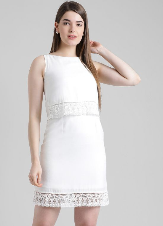 Off White Solid A-Line Dress for Women