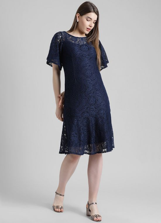 Navy Blue Self Design Fit and Flare Dress for Women