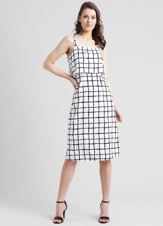 Women's White Checked A-Line Dress