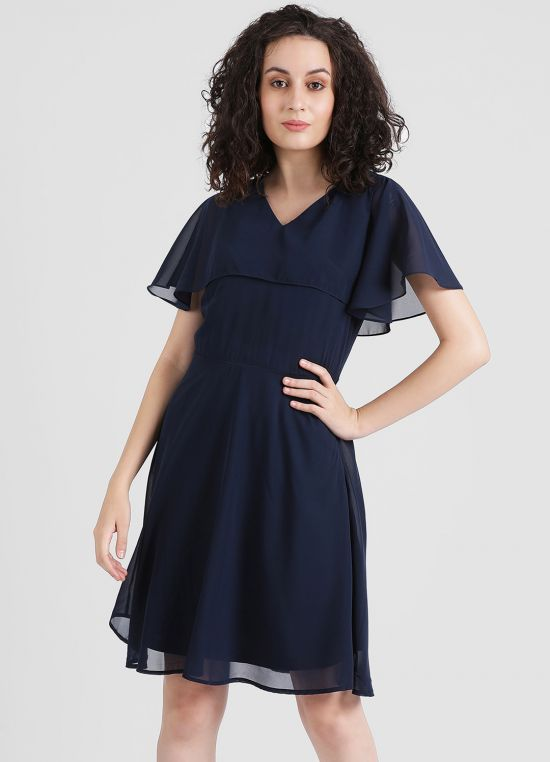 Navy Blue Solid Fit and Flare Dress for Women