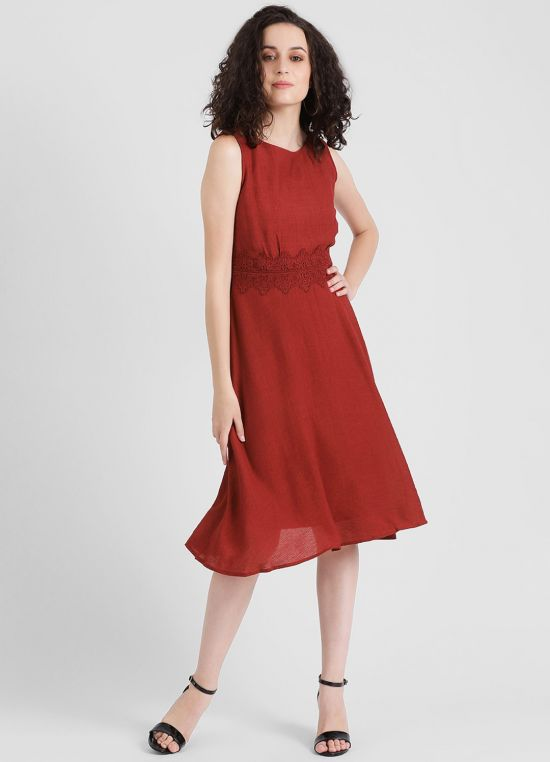 Women's Maroon Solid Fit and Flare Dress