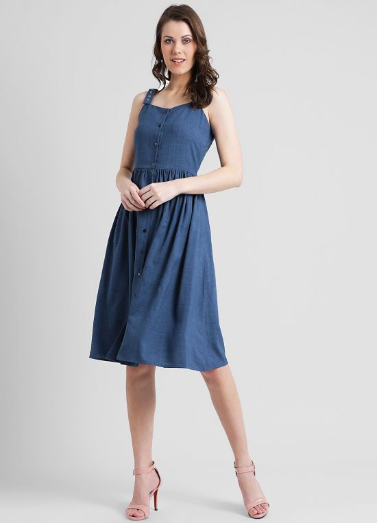 Women's Blue Solid Fit and Flare Dress
