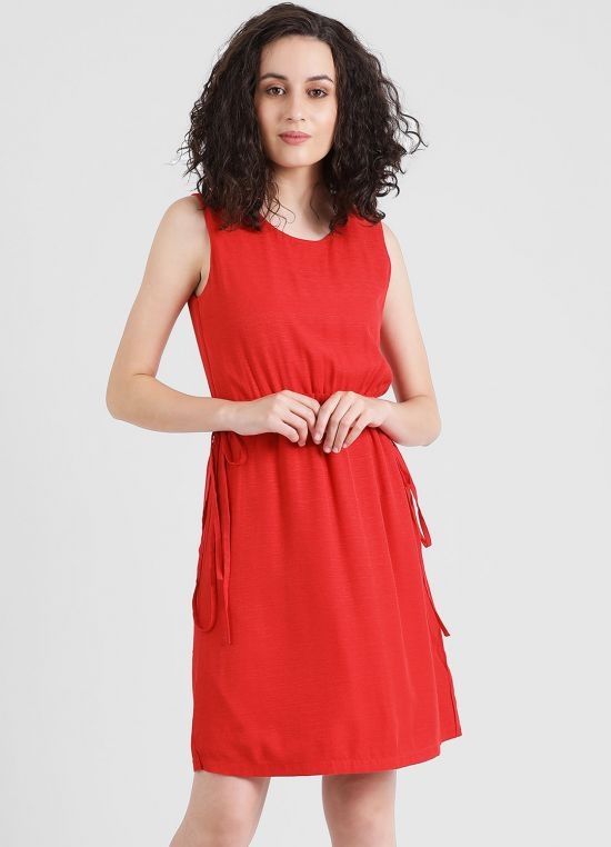 Red Solid Short Dress For Women