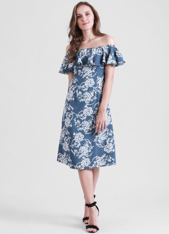 Women's Blue Printed A-Line Dress