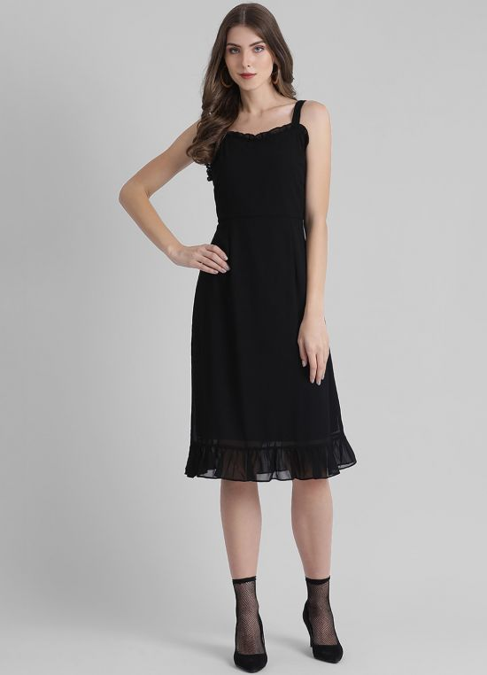 Women's Solid Fit and Flare Dress