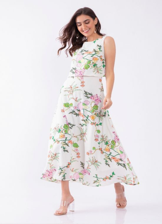 White Floral Print Tiered Maxi Dress For Women