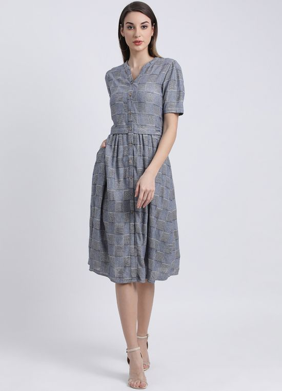 Checks Appeal Midi Dress for Women