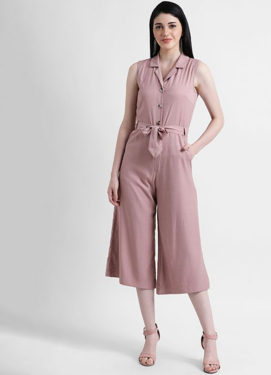 Camp Collar Cropped Jumpsuit