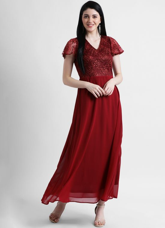Women's Maroon Embroidered Maxi Dress