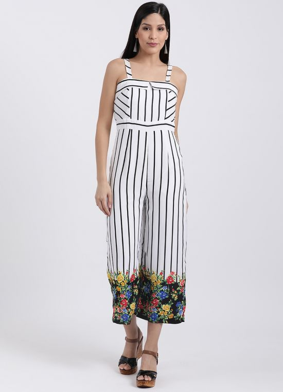 Strappy Floral Stripe Jumpsuit