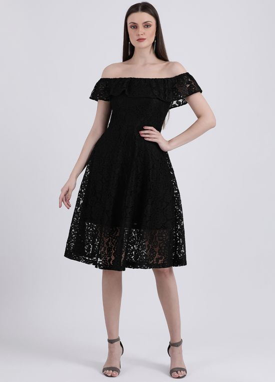 Women's Black Embroidered A-Line Dress