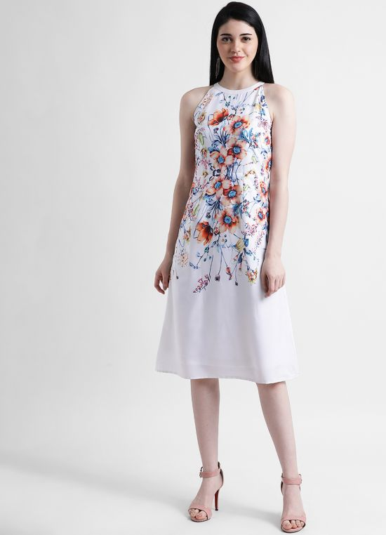 Floral Halter Neck A-Line Midi Dress
