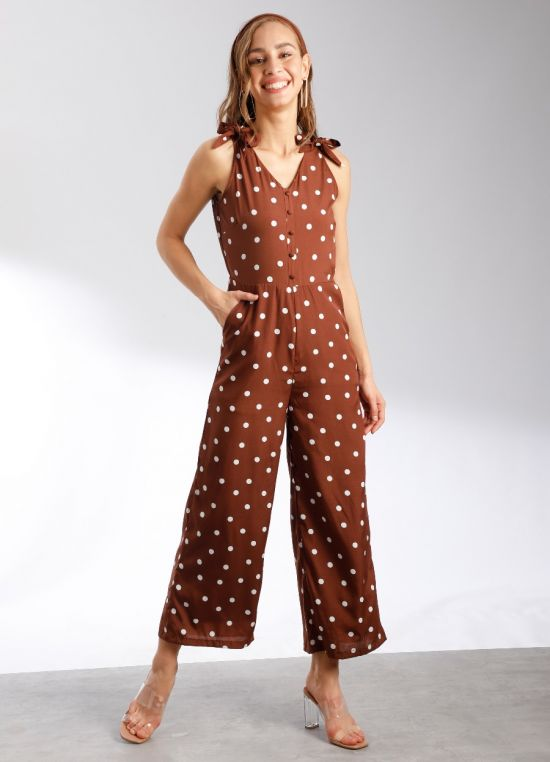 Zink London Women's Brown Polka Dotted Regular Jumpsuit