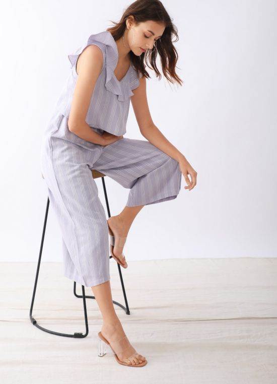 Zink London Mauve Striped Basic Jumpsuit