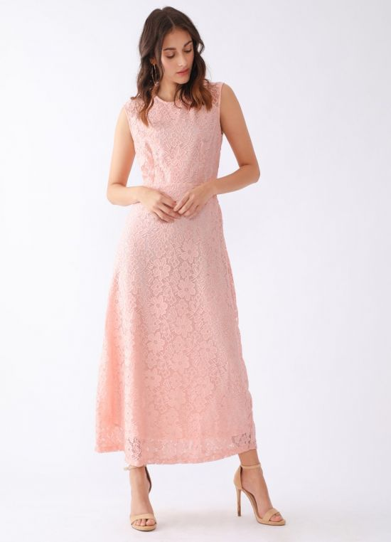 Zink London Peach Self Design Maxi Dress