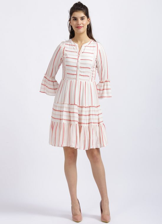 Zink London Off White Striped Tiered Dress