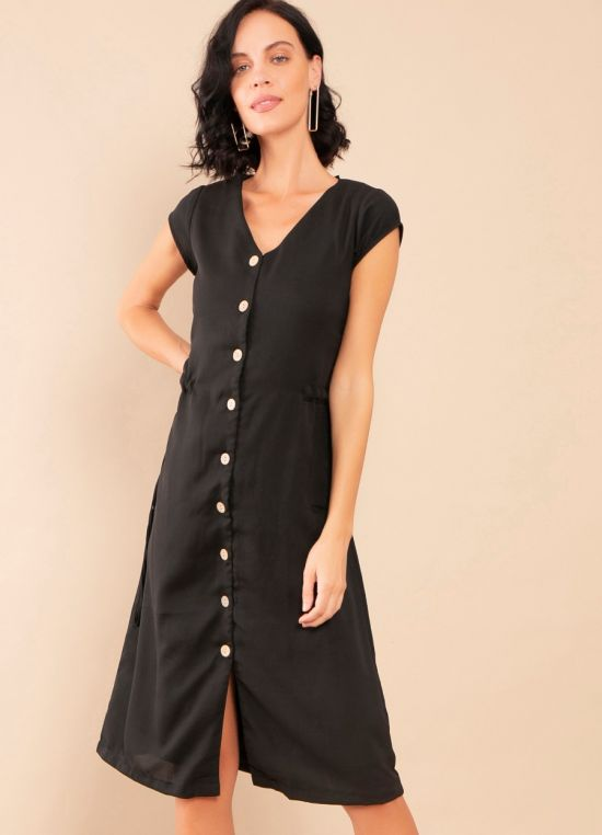 Zink London Black Solid Shirt Dress