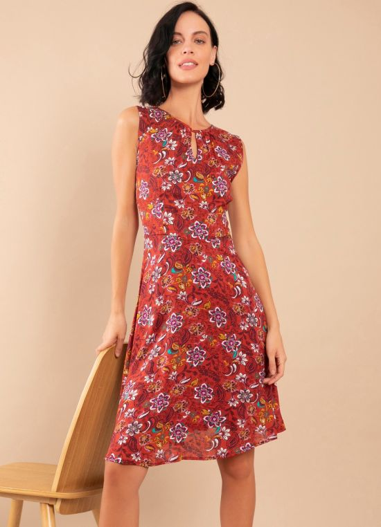 Zink London Rust Floral Print Gathered Dress