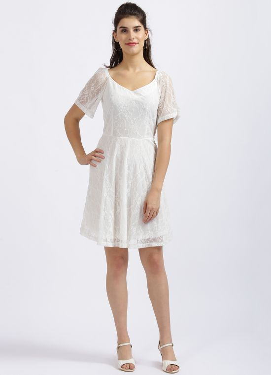 Zink London White Self Design Fit & Flare Dress