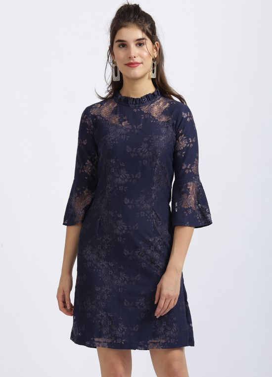 Zink London Navy Blue Self Design Fit & Flare Dress