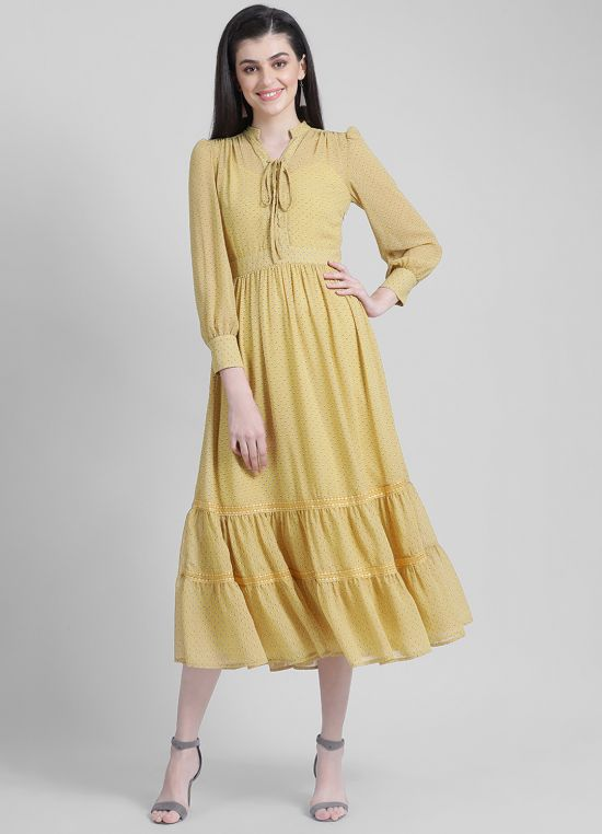Zink London Mustard Polka Dots Fit & Flare Dress
