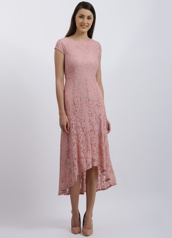 Zink London Pink Solid Fit & Flare Dress