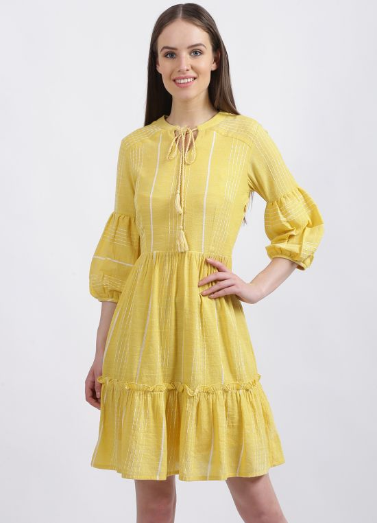 Zink London Women's Yellow Solid Tiered Dress