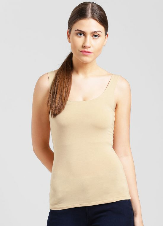 Nude Solid Tank Top for Women
