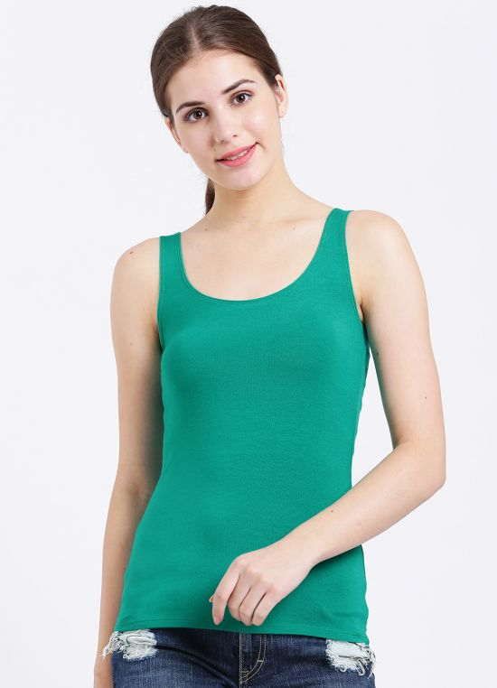 Green Solid Tank Top for Women